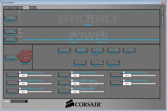 Corsair Link Software, monitoring page
