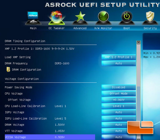 ASRock Z77E-ITX Overclocking Settings