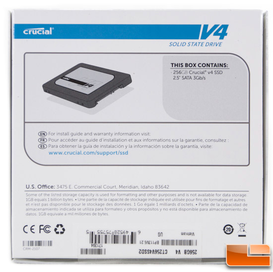 Crucial V4 256GB Box Rear