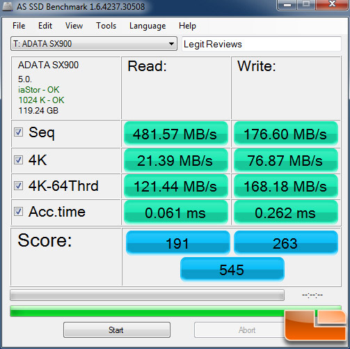ADATA SX900 128GB AS-SSD