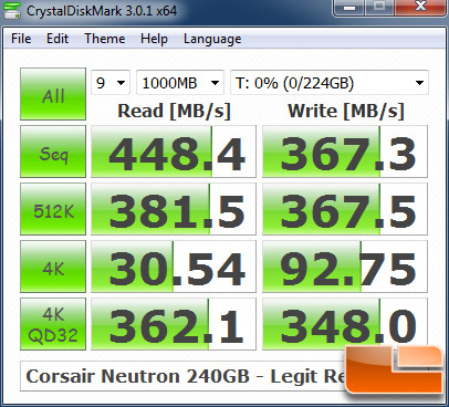 Corsair Neutron 240GB CRYSTALDISKMARK P67