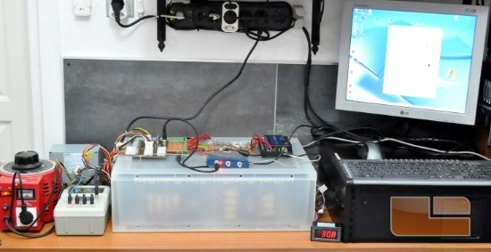 Complete test setup during trial run