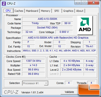 AMD A10-5800 Processor Idle