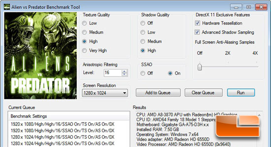 Aliens Vs. Predator Benchmark Settings
