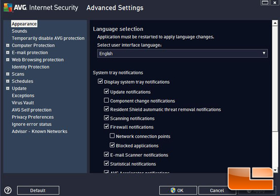 AVG Internet Security 2013 Options Menu