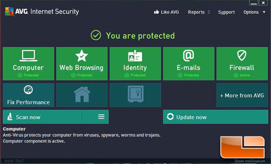 AVG Internet Security 2013 Interface