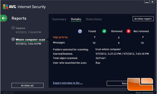 AVG Internet Security 2013 Virus Detection