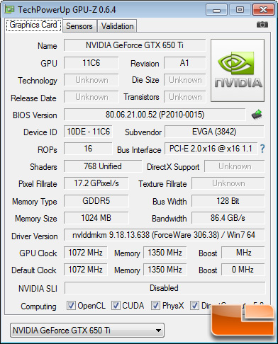 EVGA GeForce GTX 650 Ti 1GB Superclocked GPU-Z