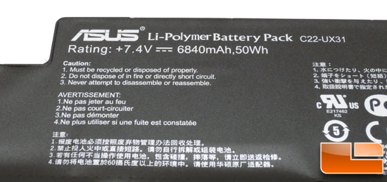 ASUS ZENBOOK UX31E Battery Removal