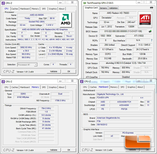 AMD A85 Test Settings