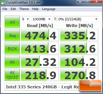 Intel 335 240GB CRYSTALDISKMARK P67