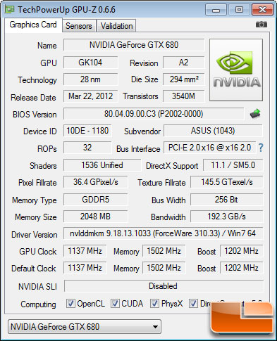 ASUS GeForce GTX 680 DirectCU II TOP GPU-Z