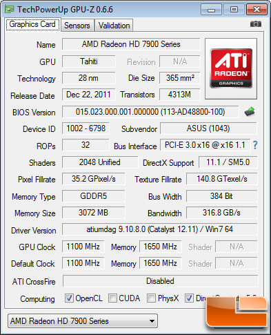 ASUS HD 7970 Matrix Platinum 3GB GPU-Z