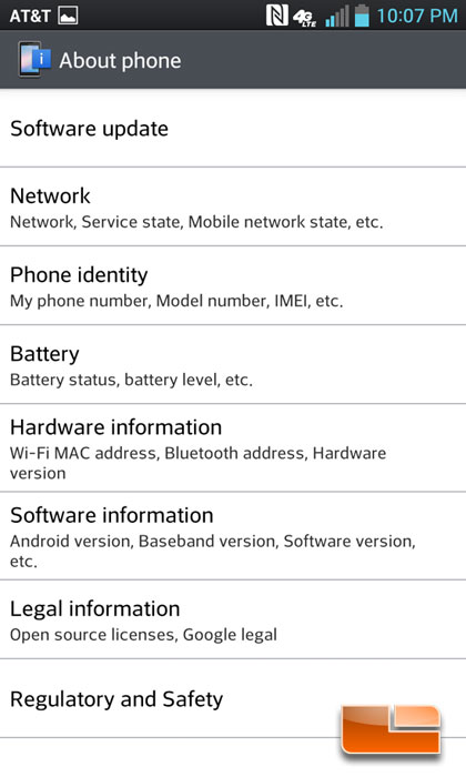 LG Optimus G Software & OS