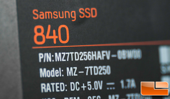 Samsung 840 250GB Label