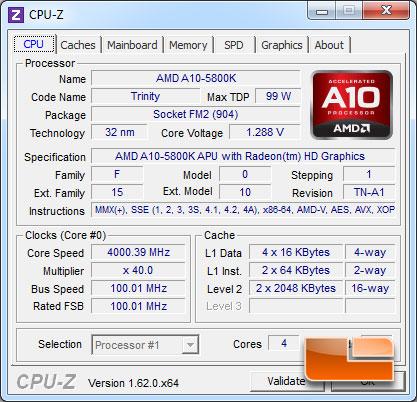 ASUS F2A85-V Pro A10-5800K CPUz