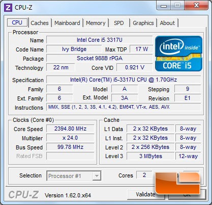Cyberpower Zues M2 Ultrabook CPUz