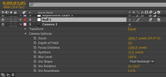 After Effects Camera Settings