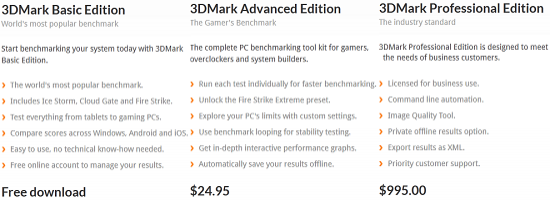 3DMark Versions