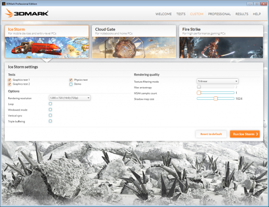 3DMark Custom Settings
