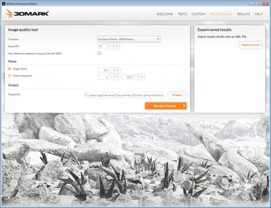 Futuremark 3DMark Professional Settings