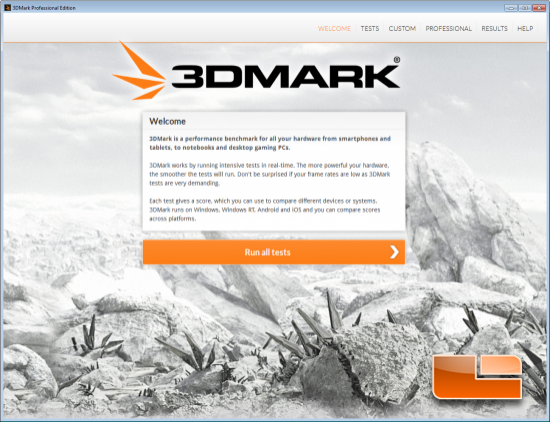 3DMark Welcome Screen