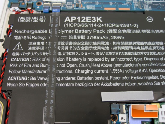 ACER S7 191 Internal Components