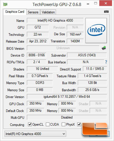 ASUS S500C CPUz & Windows Experience Index
