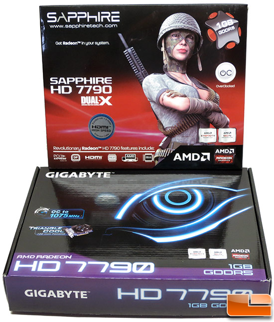 Sapphire and Gigabyte Radeon HD 7790 Video Card Boxes