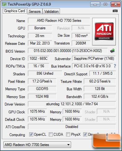 Sapphire HD7790 Dual-X OC GPU-Z