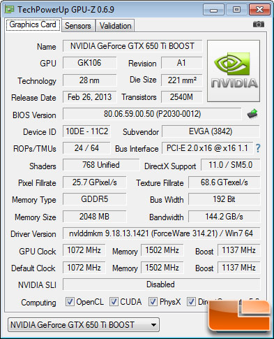 EVGA GeForce GTX 650 Ti Boost SC GPUZ
