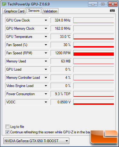 EVGA GeForce GTX 650 Ti Boost SC GPUZ Idle