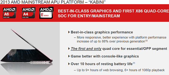 AMD Kabini Mainstream APU Notebook Platform Preview
