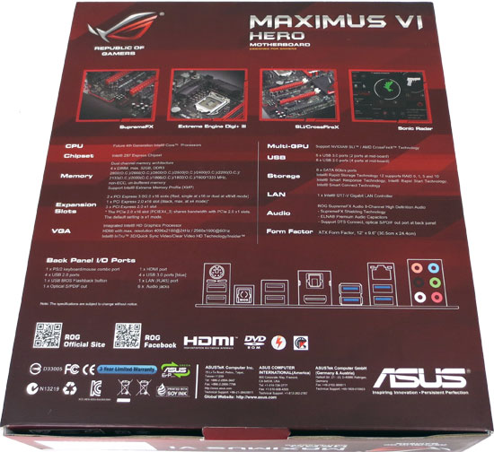 ASUS Republic of Gamers Maximus VI Hero Intel Z87 Motherboard Retail Packaging