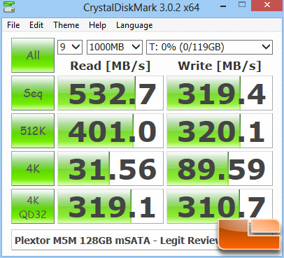 Plextor M5M 128GB mSATA CRYSTALDISKMARK Z77
