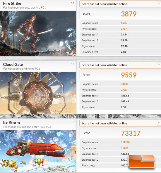 3DMark 2013 Old PC Results