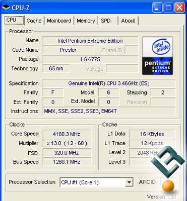 Default Voltages and a 20% overclock on the Intel 955