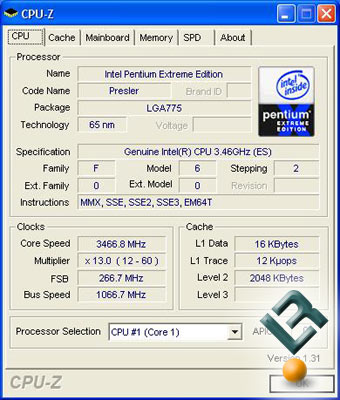 A CPU-Z Shot of the Intel 955 Processor