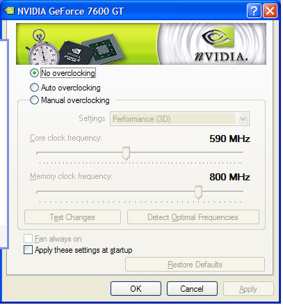The XFX 7600GT XXX clock speeds