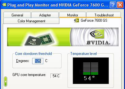 nVidia GeForce 7600 GS Load Temperatures