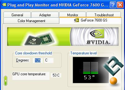 nVidia GeForce 7600 GS Idle Temperatures