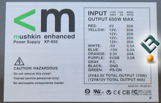 The Mushkin eXtreme XP-650 650W PSU Label