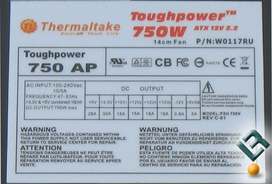 The Thermaltake ToughPower 750W PSU Label