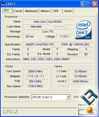 CPU-Z Image of the Overclocked Intel E6300 Processor