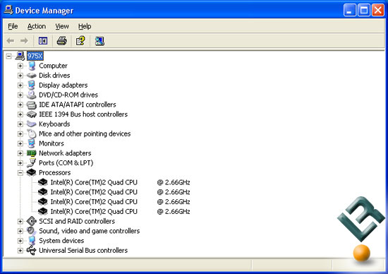 Intel Core 2 Extreme QX6700 Processor Device Manager Screen