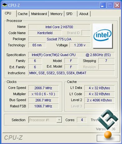 Intel Kentsfield QX6700 CPU-Z 1.36 picture