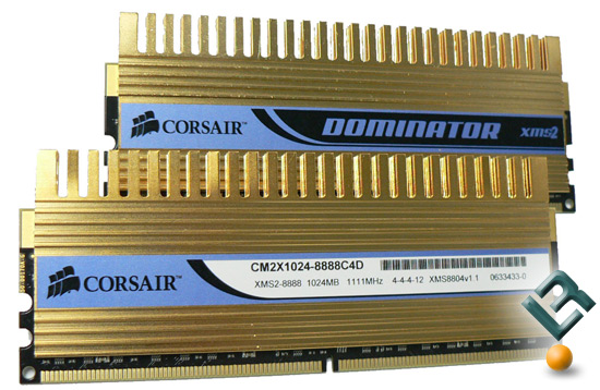 Corsair PC2-8888C4 Gold Plated DOMINATOR Kit