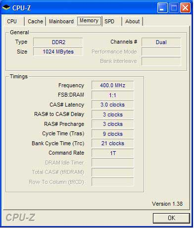 Kingston PC2-9600 Memory at 800MHz
