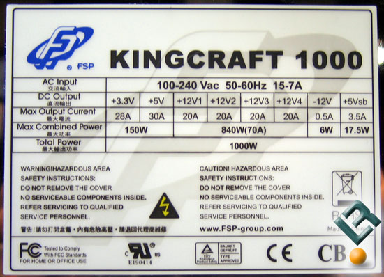 FSP Kingcraft 1000W PSU
