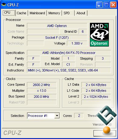 AMD QuadFX FX-70 Default CPU-Z